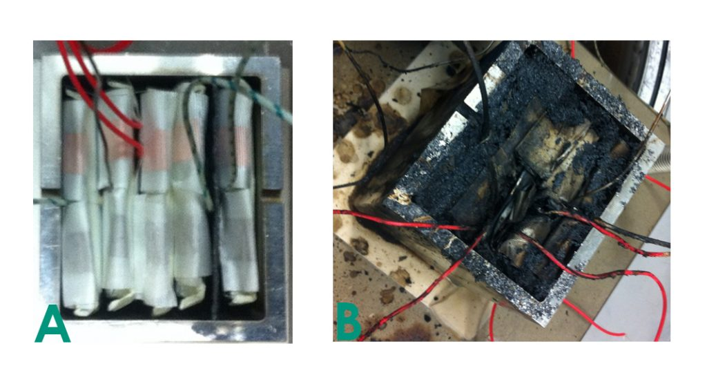 Fig. 5: Thermal propagation tests in an ARC: a) A setup with heat protection barrier between cells four and five; b) A destroyed battery pack after test with an unsuitable heat protection barrier
