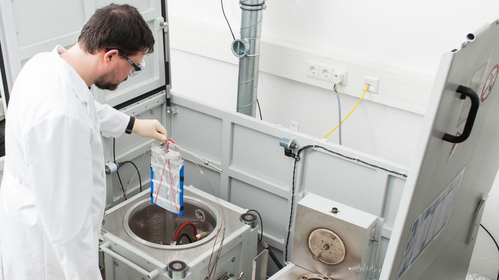 Fig. 7: Cell insertion into an accelerating rate calorimeter